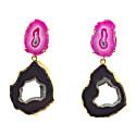 'Dark Love' Black Pink Gemstone Gold Statement Earrings image