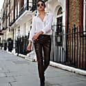 Brown Vegan Leather Pants image