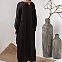 Silk Blend Black Kaftan Dress With Sleeves Alya image
