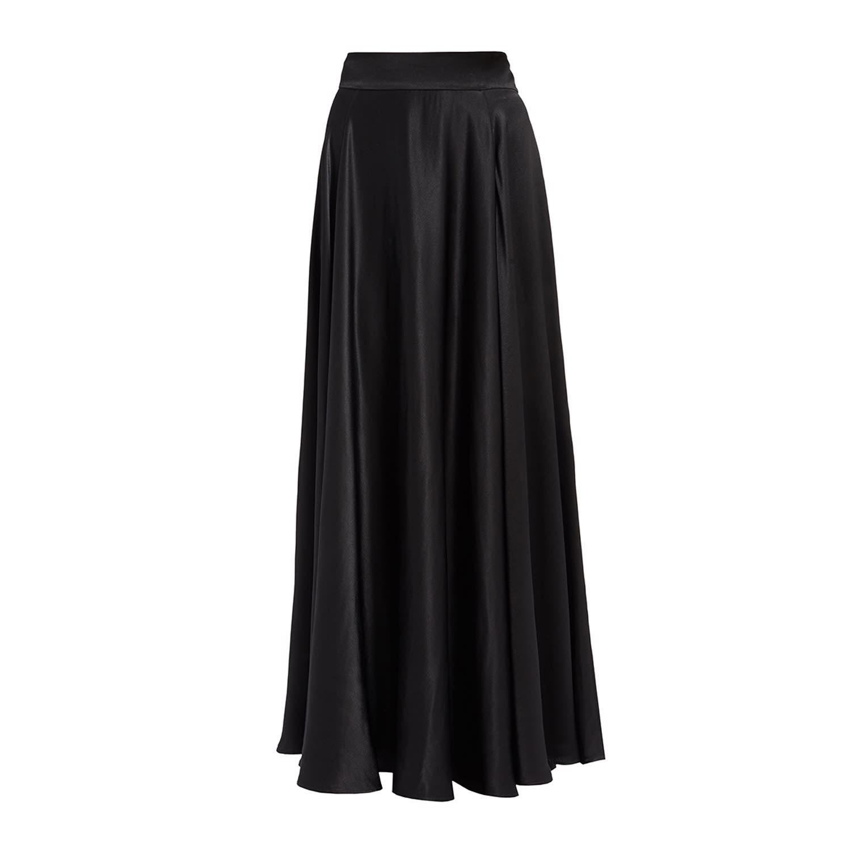 34543ab778 Olga Black Satin High Waisted Maxi Skirt | WtR | Wolf & Badger