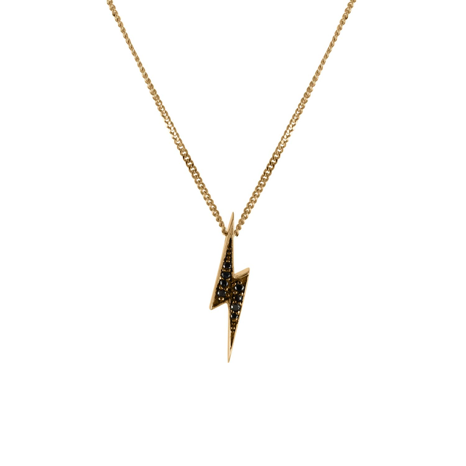 724b010b19ac1 Black Diamonds Lightning Bolt Necklace In Solid Gold by No 13