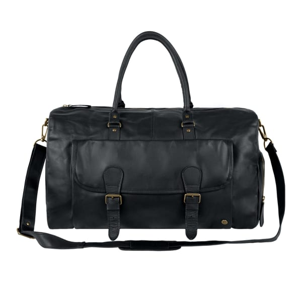 Mahi Leather Black Leather Overnight Bag With Shoe Compartment