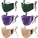Set Of 6 Pure Silk Satin Face Mask/ Emerald Violet Rose Skin image
