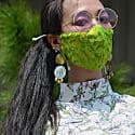Lime Paisley Pure Silk Jacquard Face Mask image