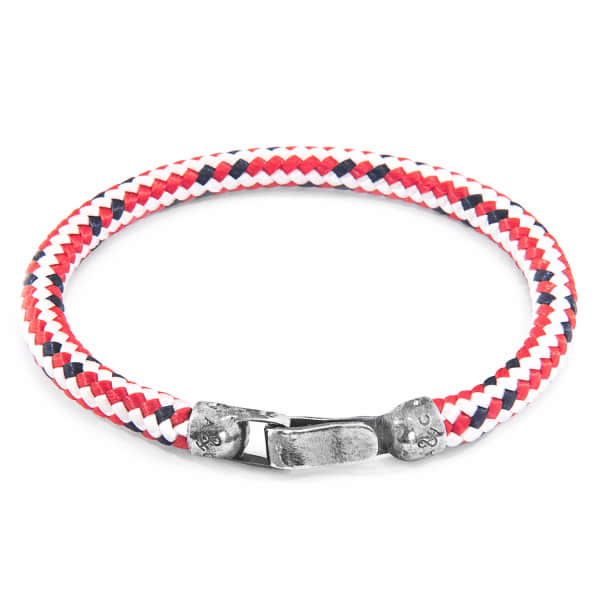 ANCHOR & CREW Red Dash Paignton Silver And Rope Bracelet