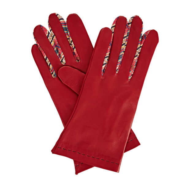 Philomena Red Leather Gloves With Shades of Red Braided Barcode Liberty Tana Lawn