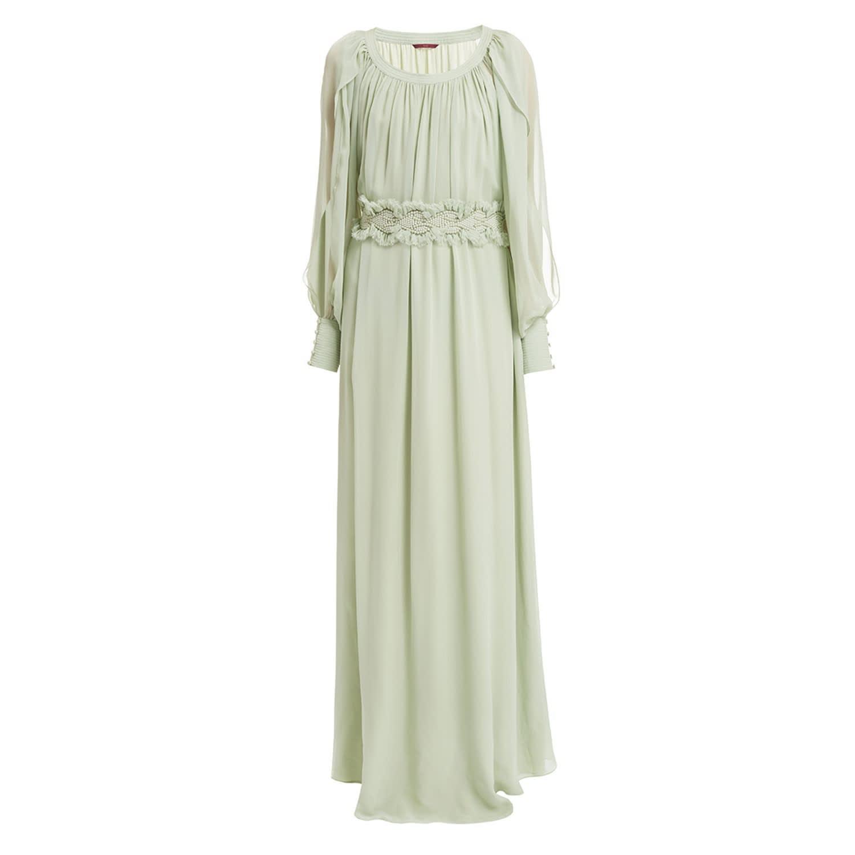 6f6b87c323eb9 WtR Mint Green Silk Long Sleeve Maxi Dress image