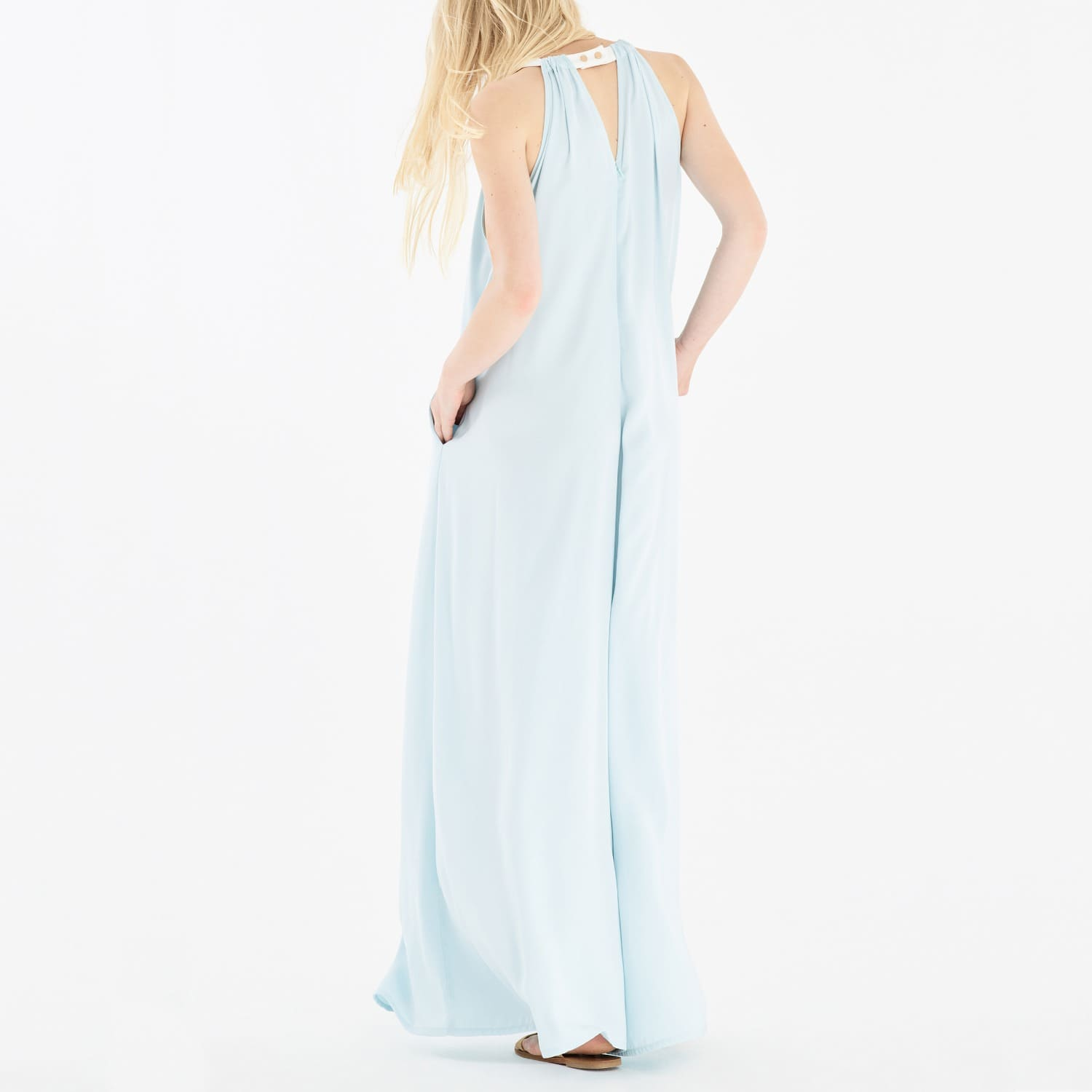 fc60b5f68e Two Tone Halter Neck Jumpsuit with Pastel Belt in Light Blue   White image