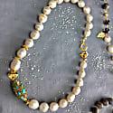 Freshwater Pearls With Rhinestone Bordered Turquoise Choker image