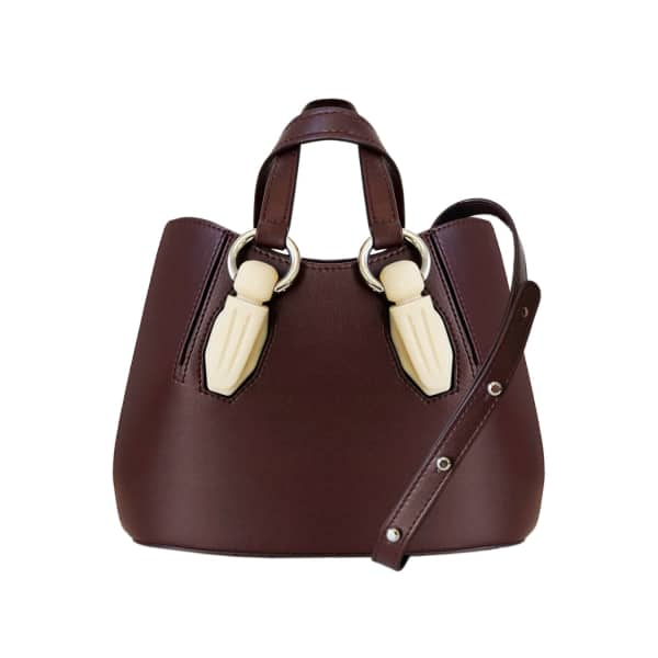 AEVHA LONDON Mini Garnet Tote In Mulberry With Resin Hardware