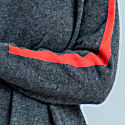 Cashmere Zoe Sporty Stripe Jumper Charcoal & Tomato image