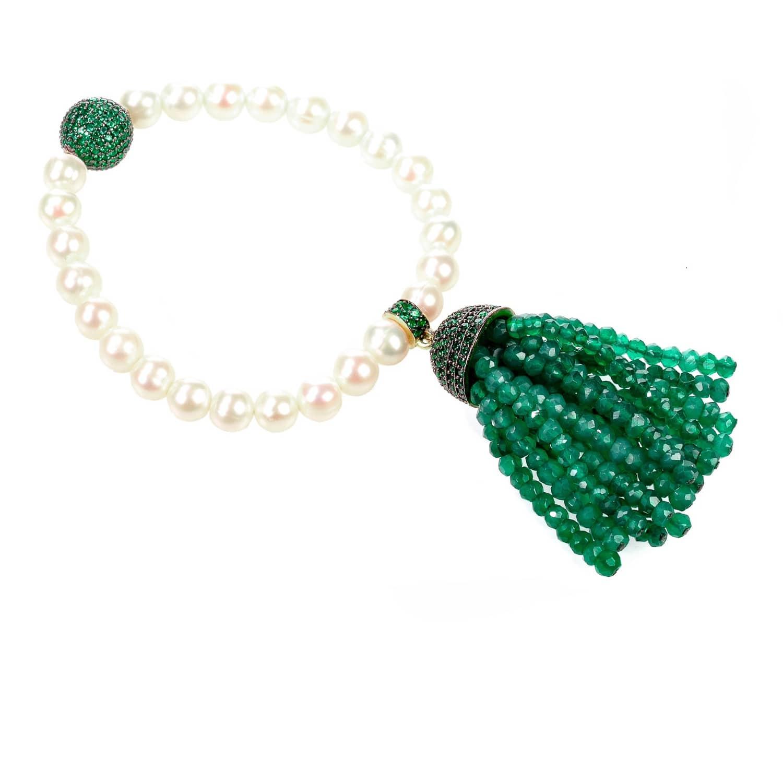 Latelita London Tassel Pearl Bracelet With Green Onyx G4EHe
