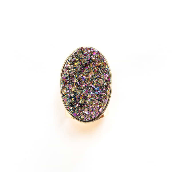 TIANA JEWEL Steffy Rainbow Metallic Druzy Ring in Multicolour
