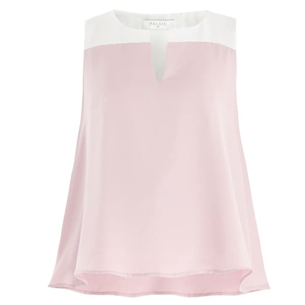 PAISIE Two Tone Flared V-Neck Top in Pink & White