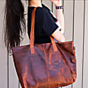 Leather Tote In Vintage Brown image