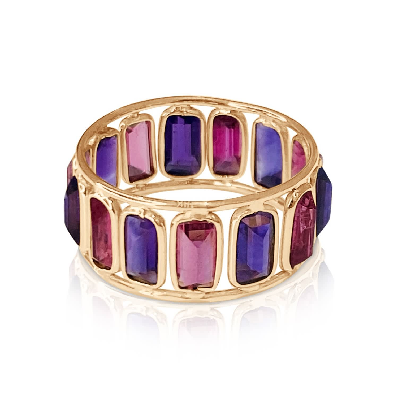 Free Shipping in USA. Amethyst Ring SetGemstone RingSmall Amethyst Ring Modern Amethyst RingStacking Ring