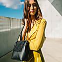 Mini Bucket Shoulder or Handbag in Black Leather image