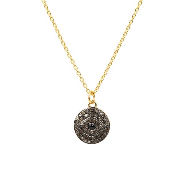 LATELITA LONDON Diamond & Sapphire Evil Eye Necklace Gold