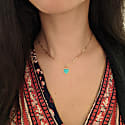 Turquoise Heart Necklace With Diamonds On Paperclip Link Chain image
