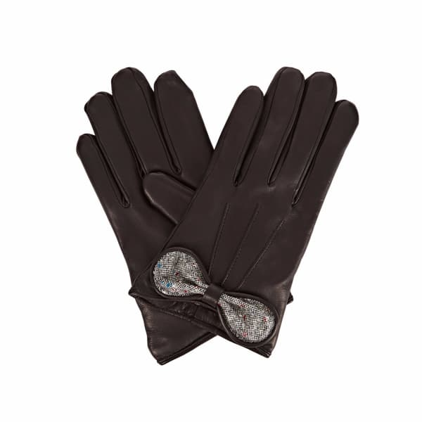 GIZELLE RENEE Polly Black Leather Gloves With Black Speckle Wool
