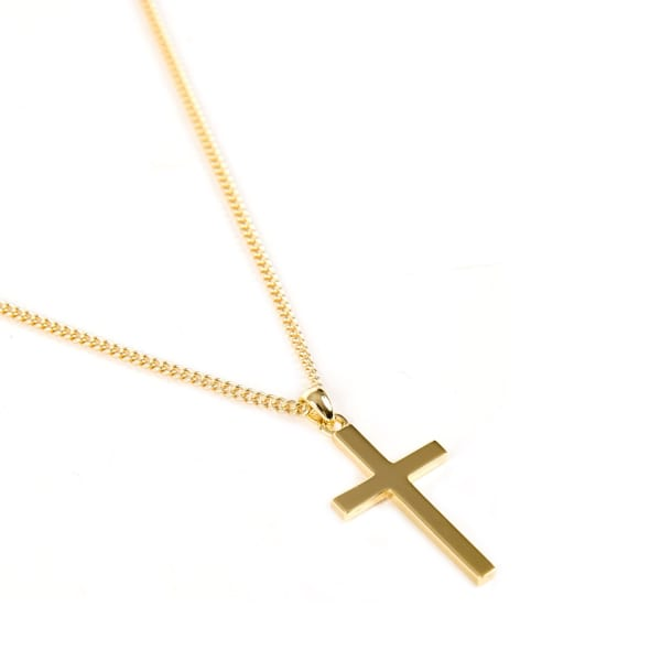 Gold Plated Silver Cross Necklace by Serge De Nimes