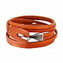 Tan Multilayer Leather Bracelet With Metal Hook Closure image