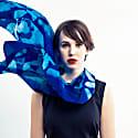 Blue Rose Silk Oversized Scarf image