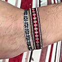 Handwoven Bracelet In Burgundy And Red Tones With Beads For Him image