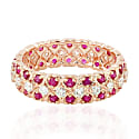 Heart Shape Eternity Band In 18K Rose Gold With Ruby & Diamonds image