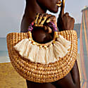 Woven Half Round Handbag With Tassel image
