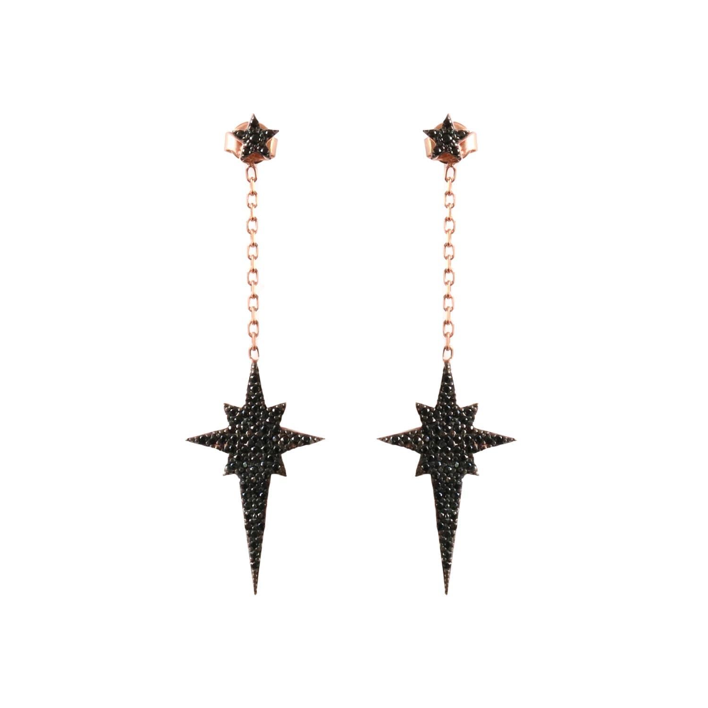 Black Stars Hex /& Circle Drop Earrings Cork Leather