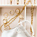 Silk Satin Face Mask With Gold Chains Champagne image