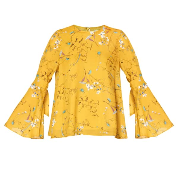 PAISIE Round Neck Floral Top With Fluted Tie Sleeves In Yellow Floral