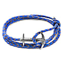 Royal Blue Admiral Anchor Silver & Braided Leather Bracelet image