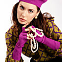 Fallon Long Fingerless Cashmere Silk Gloves In Purple image