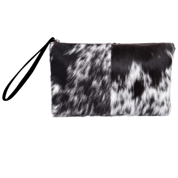 MAHI LEATHER Classic Clutch Bag In Animal Print & Pony Fur