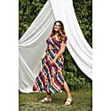 Vac Stripes Print Multi Slits Midi Skirt image