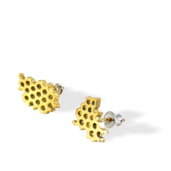KAROLINA BIK JEWELLERY Honeycomb Earrrings Gold