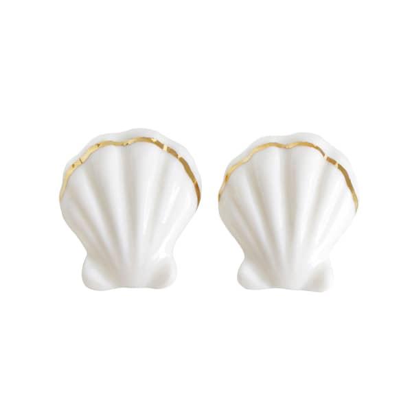 POPORCELAIN Porcelain Clam Shell Statement Stud Earrings