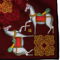 Kalighat Horse Classic Silk Scarf Collection Maroon & Yellow image