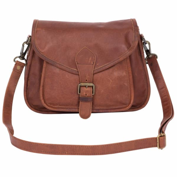 MAHI LEATHER Classic Saddle Pouch Bag in Vintage Brown Leather