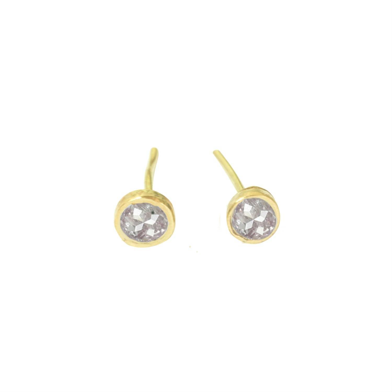 8144174d95c3 Pink Rose Cut Diamonds on Gold Stud Earrings