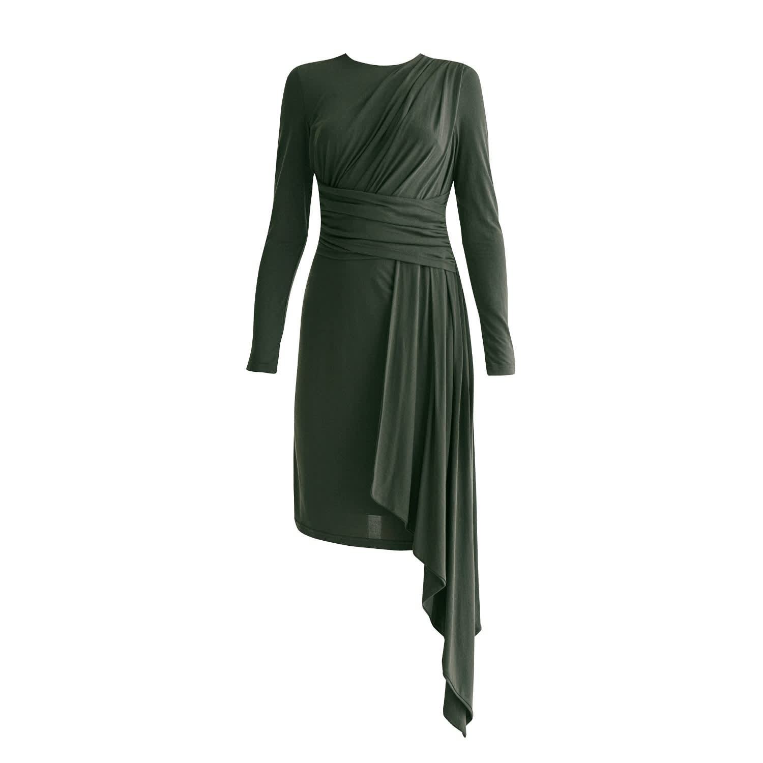 Jersey Dress With Ruched Detail Side Skirt Drape In Dark Green Paisie Wolf Badger