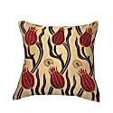 Red Tulip Design Silk Suzani Cushion image