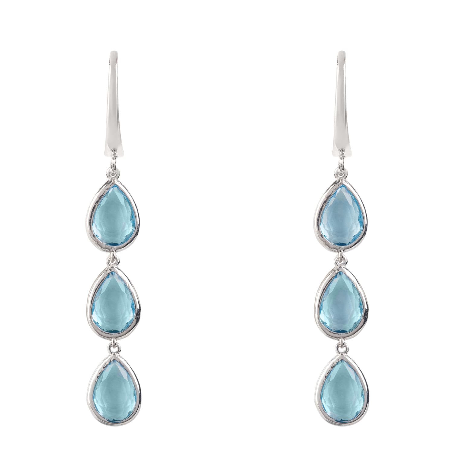 Latelita London Sorrento Triple Drop Earrings Silver Blue Topaz ctMCFJ