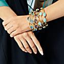 Sasha Gold Bangle With Pink Quartz Gemstones image