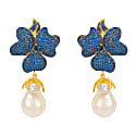 Sapphire Flower Baroque Pearl Drop Earring Gold image