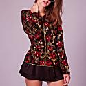 Rosie Red & Gold 3D Sequin Silk Jacket Top image