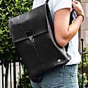 Minimalistic Black Leather College Backpack image