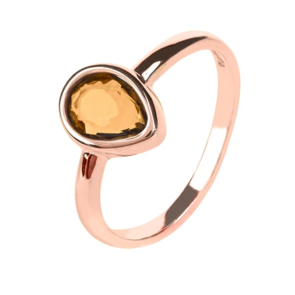 Pisa Mini Teardrop Ring Rosegold Smokey Quartz Hydro
